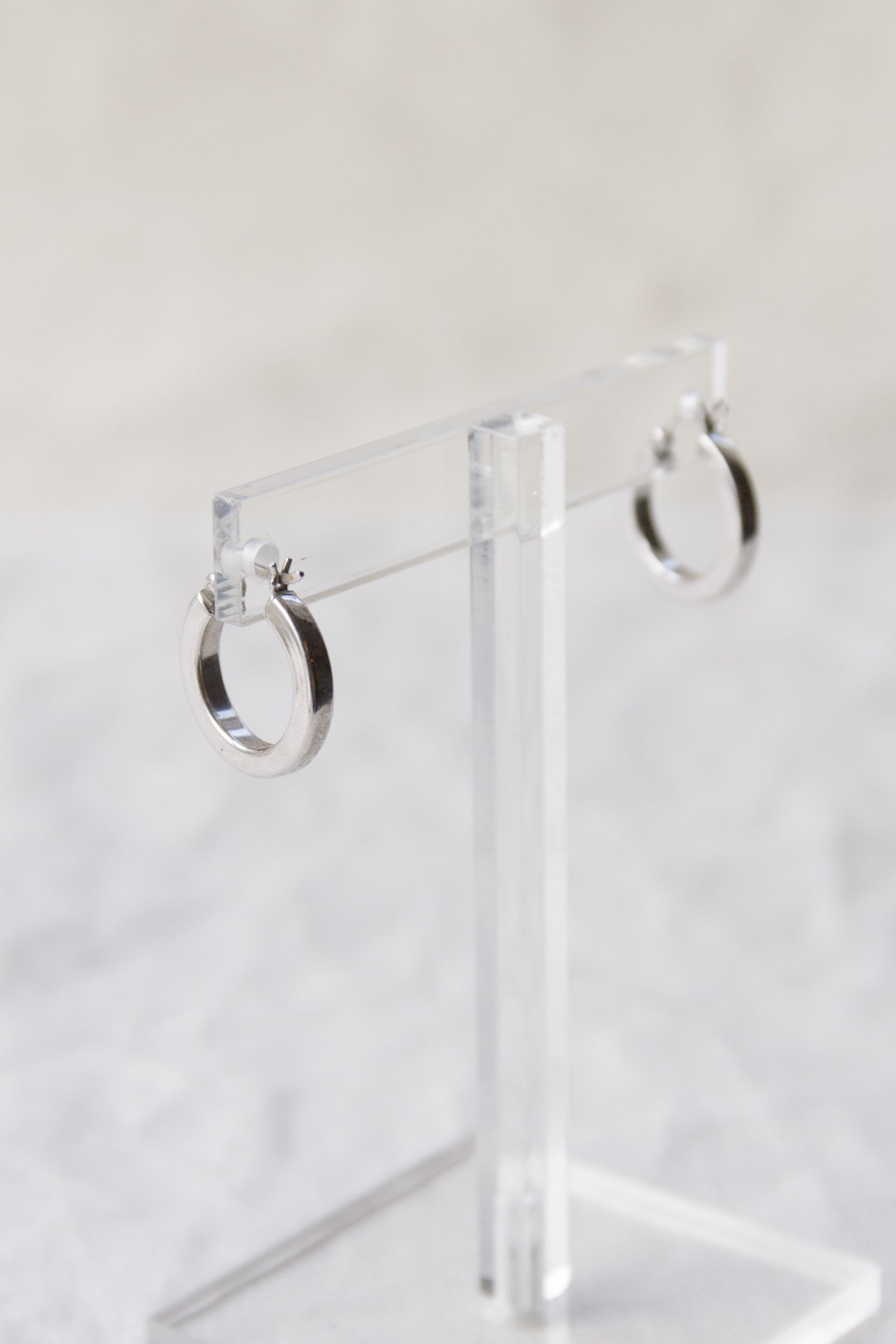 Vintage Small Sterling Squared Hoops