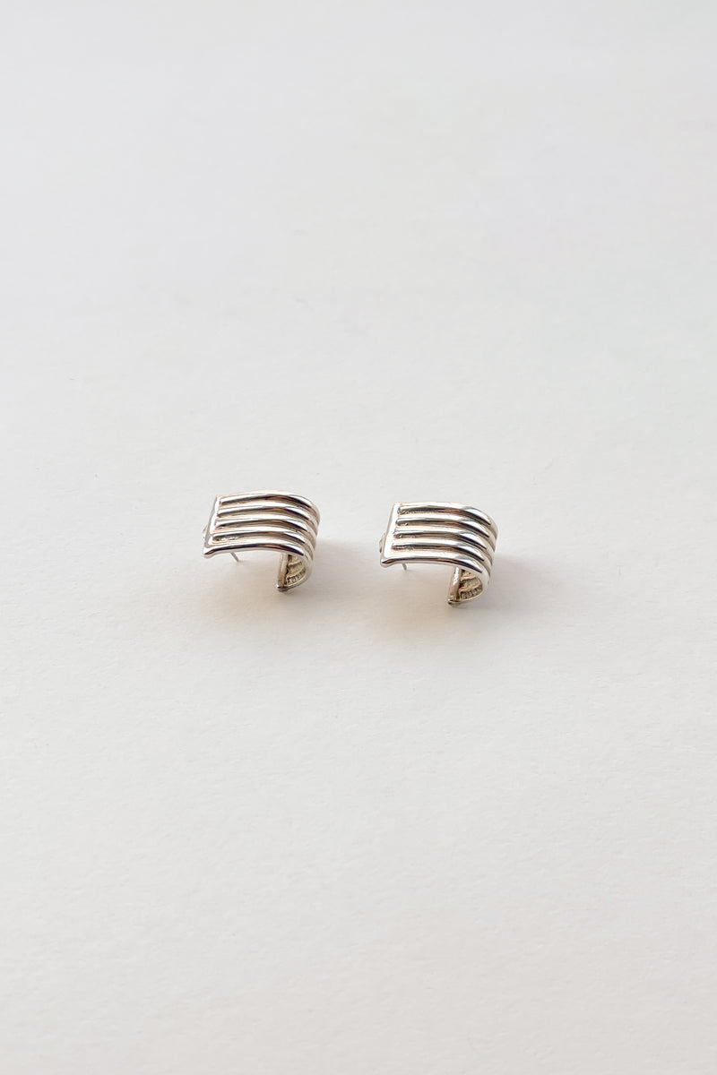 Sterling Ribbed Cuff Earrings