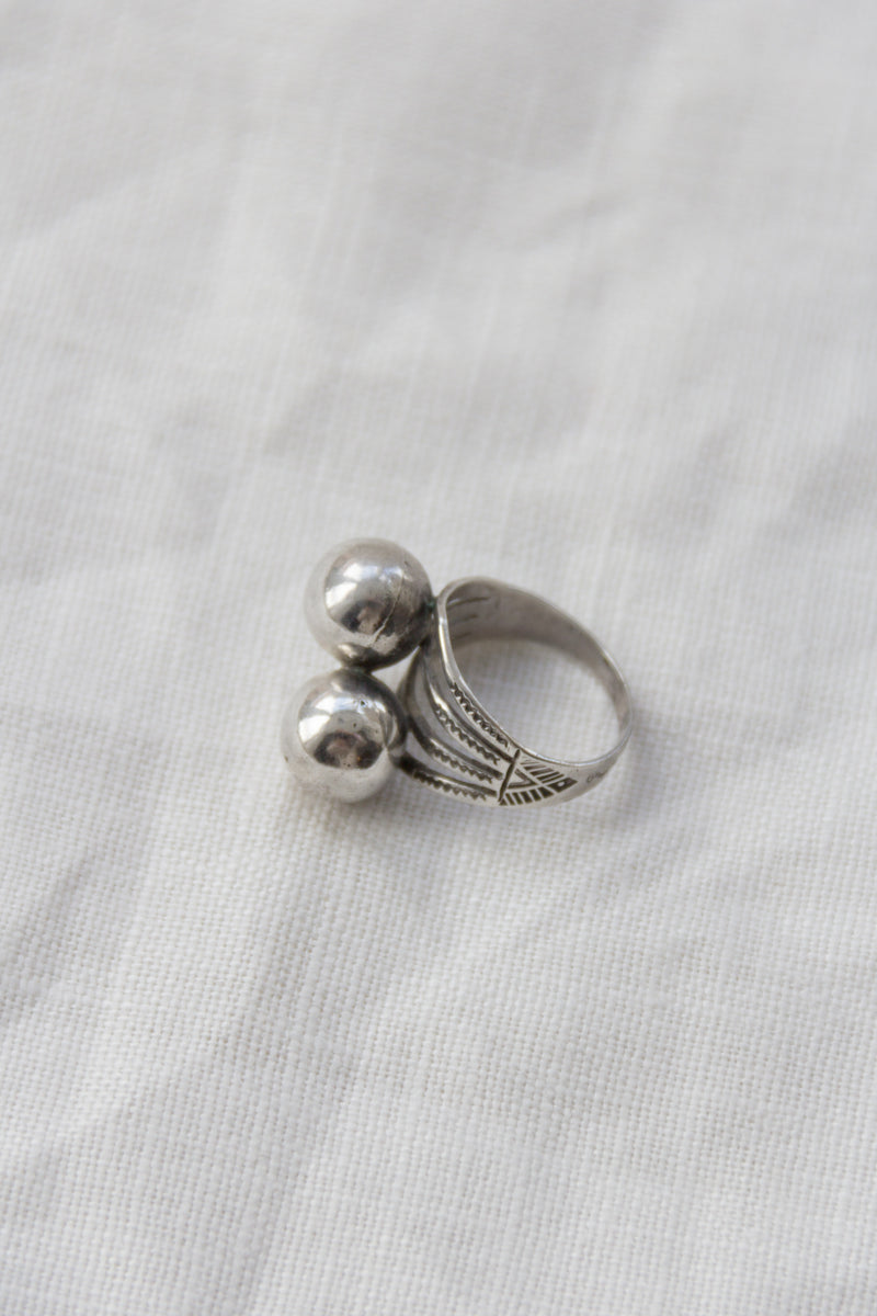 Sterling Etched Double Ball Ring