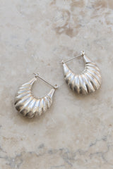 Sterling Scallop Shell Hoop Earrings