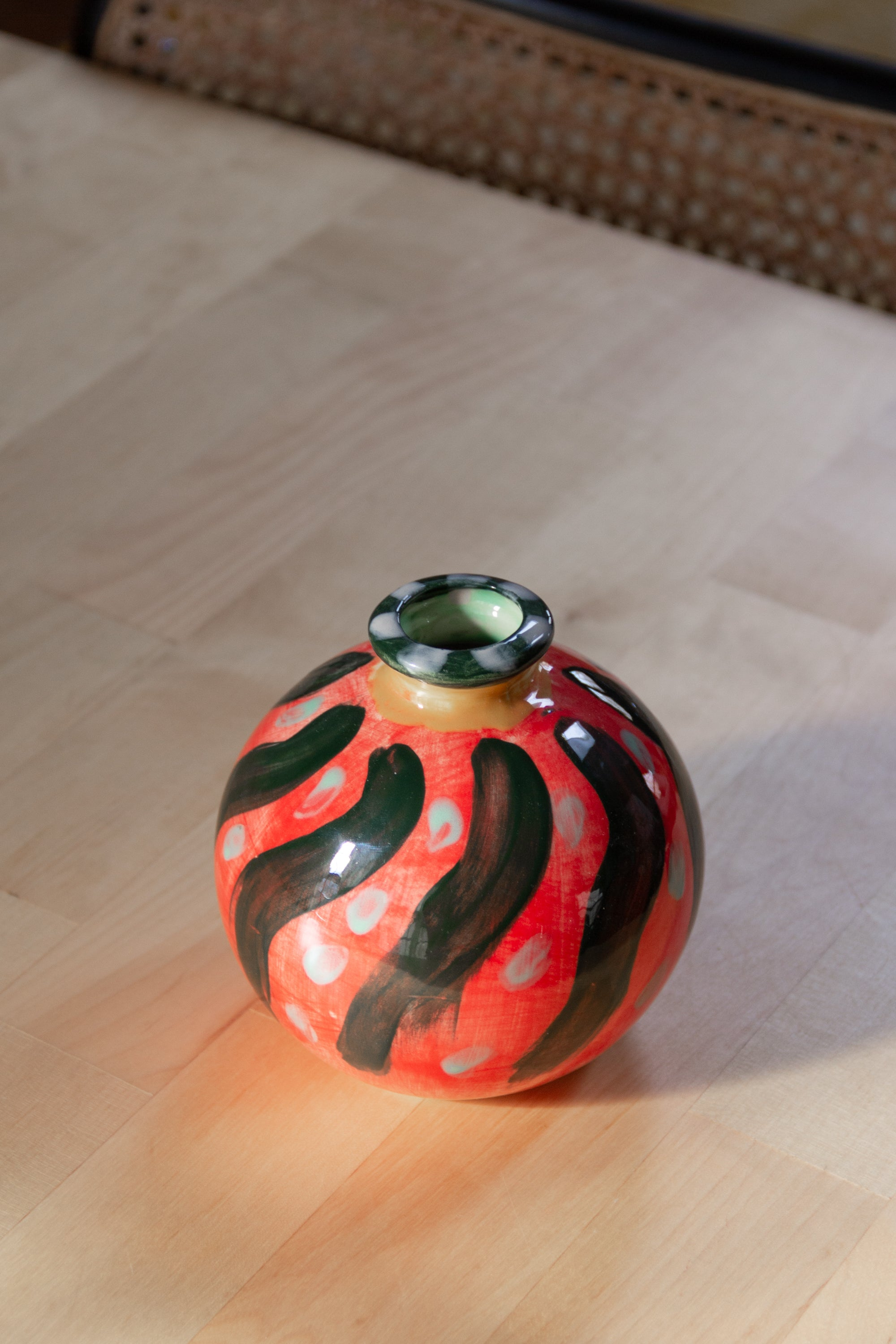 Sue's Hand-Painted Round Vase