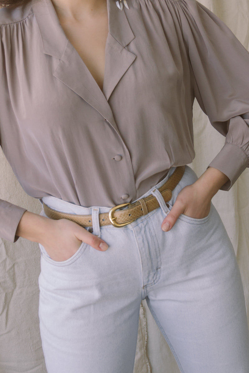 1980s Tan Genuine Snakeskin Belt