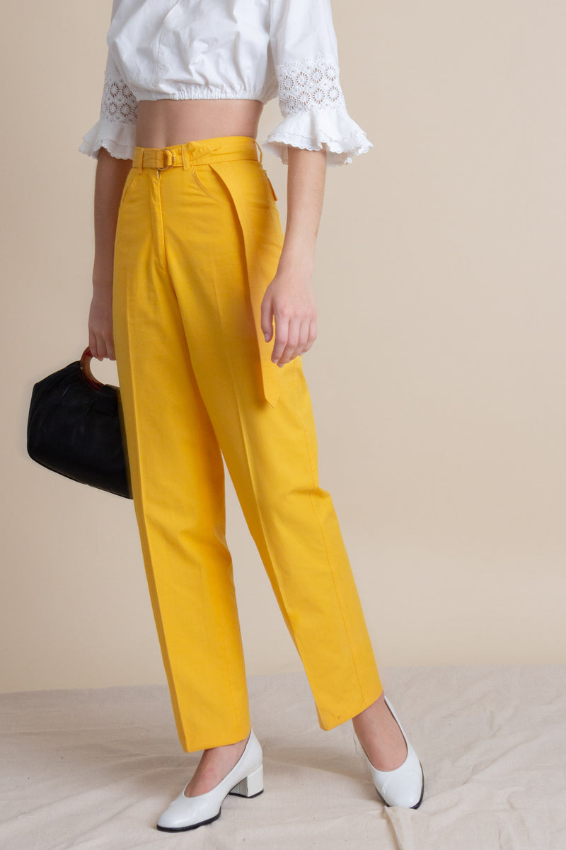 Vintage 70s Gucci Belted Cotton Trousers | XS