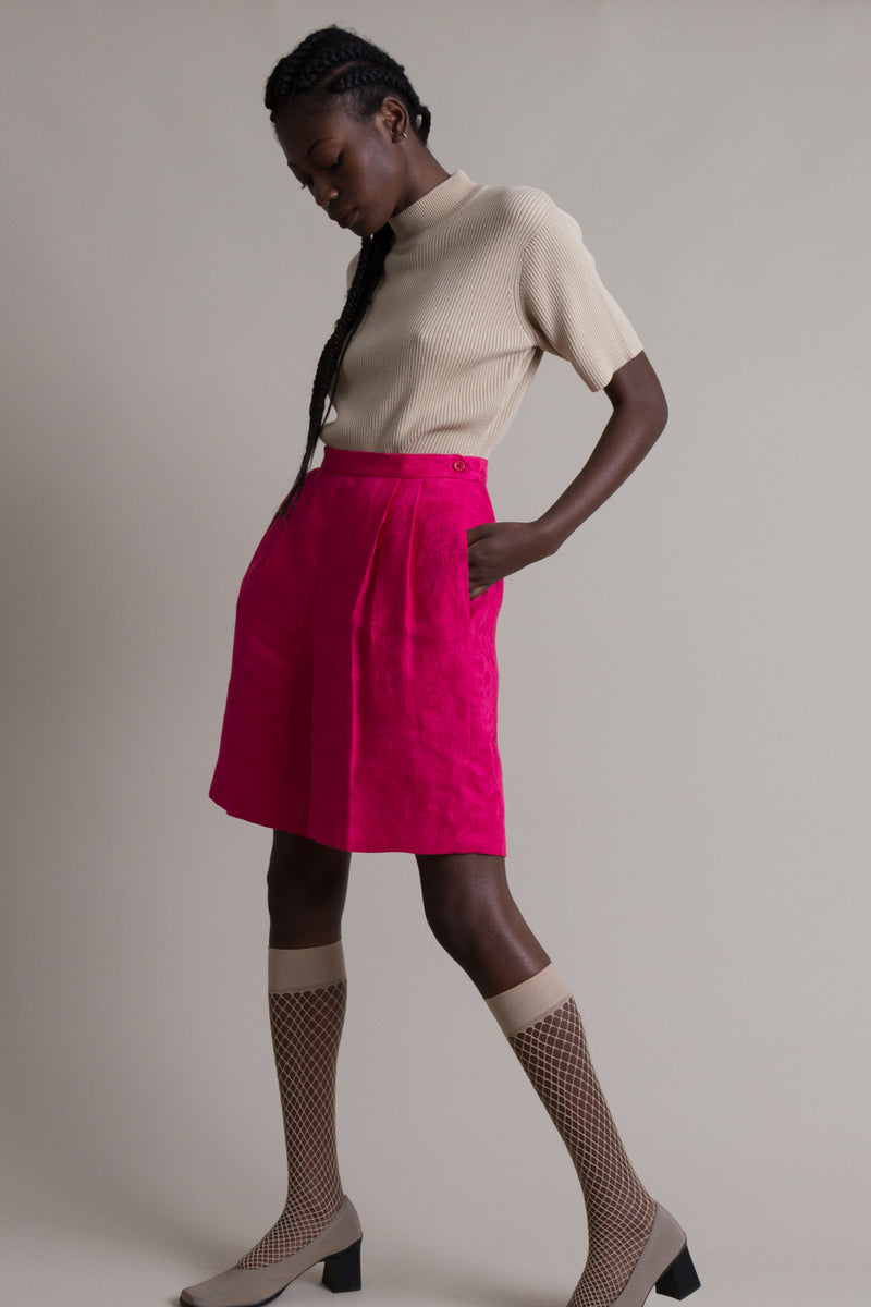 Vintage 80s Fuchsia Carlisle Pleated Shorts | 26