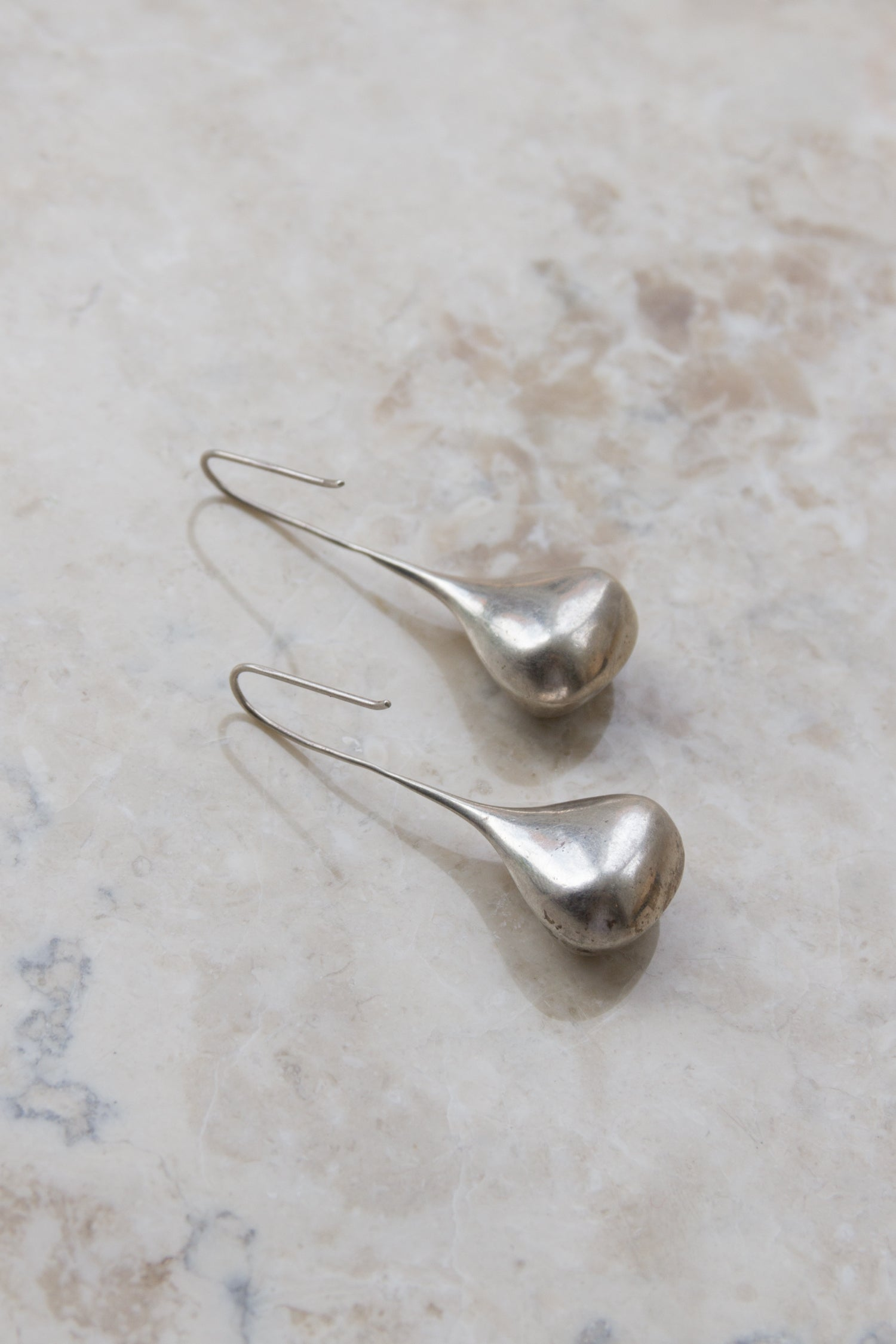 Vintage Sterling Teardrop Hook Earrings