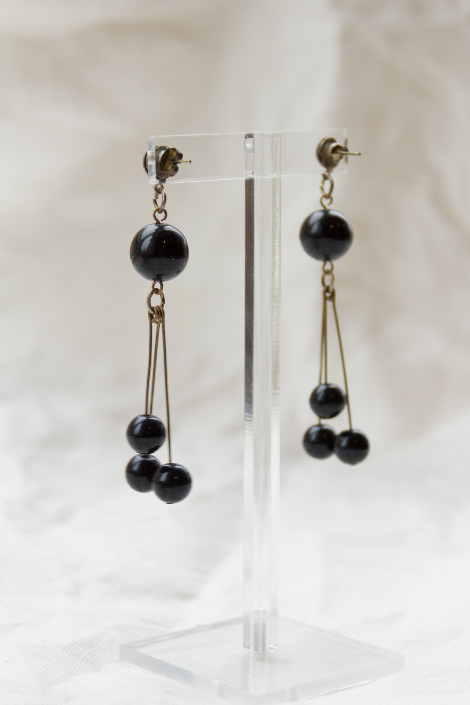 Vintage Tri-Bead Dangle Earrings