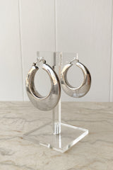 XL Sterling Wedge Hoops