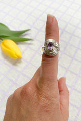 Sterling + Amethyst Swirl Ring