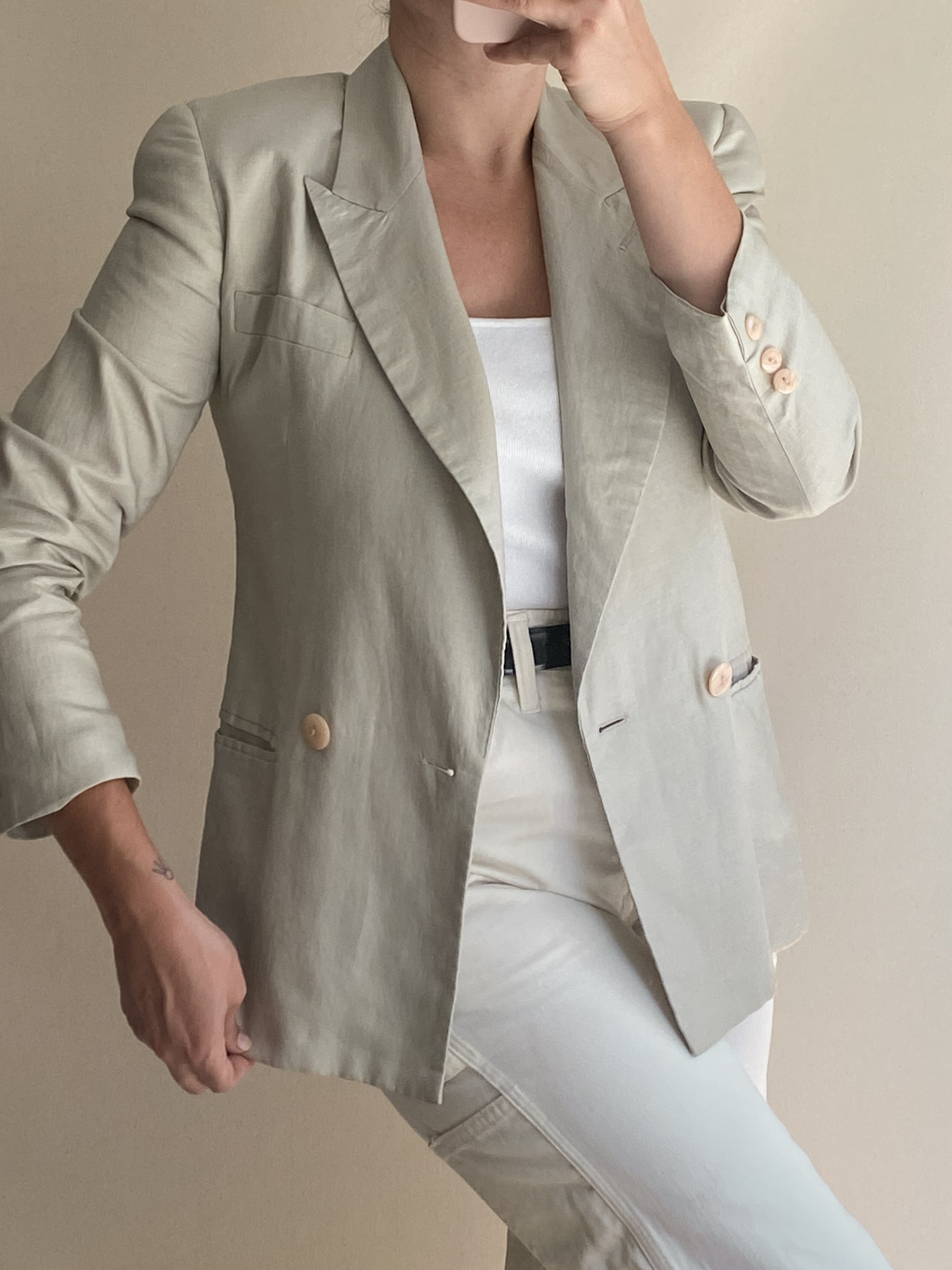 1990s Ecru Linen Double Breasted Blazer