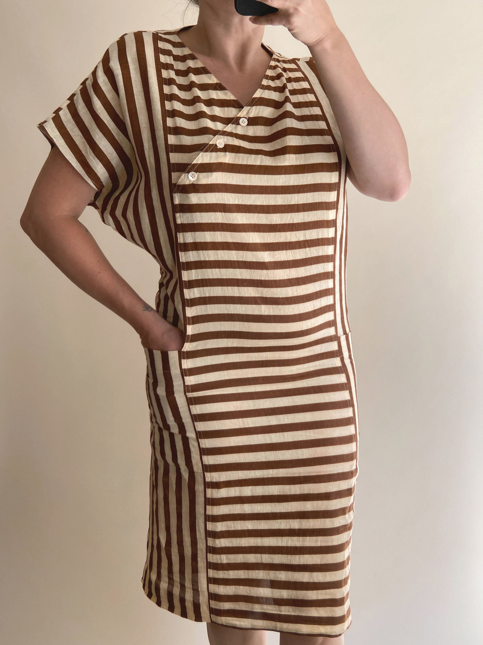 1980s Striped Linen Sheath Dress