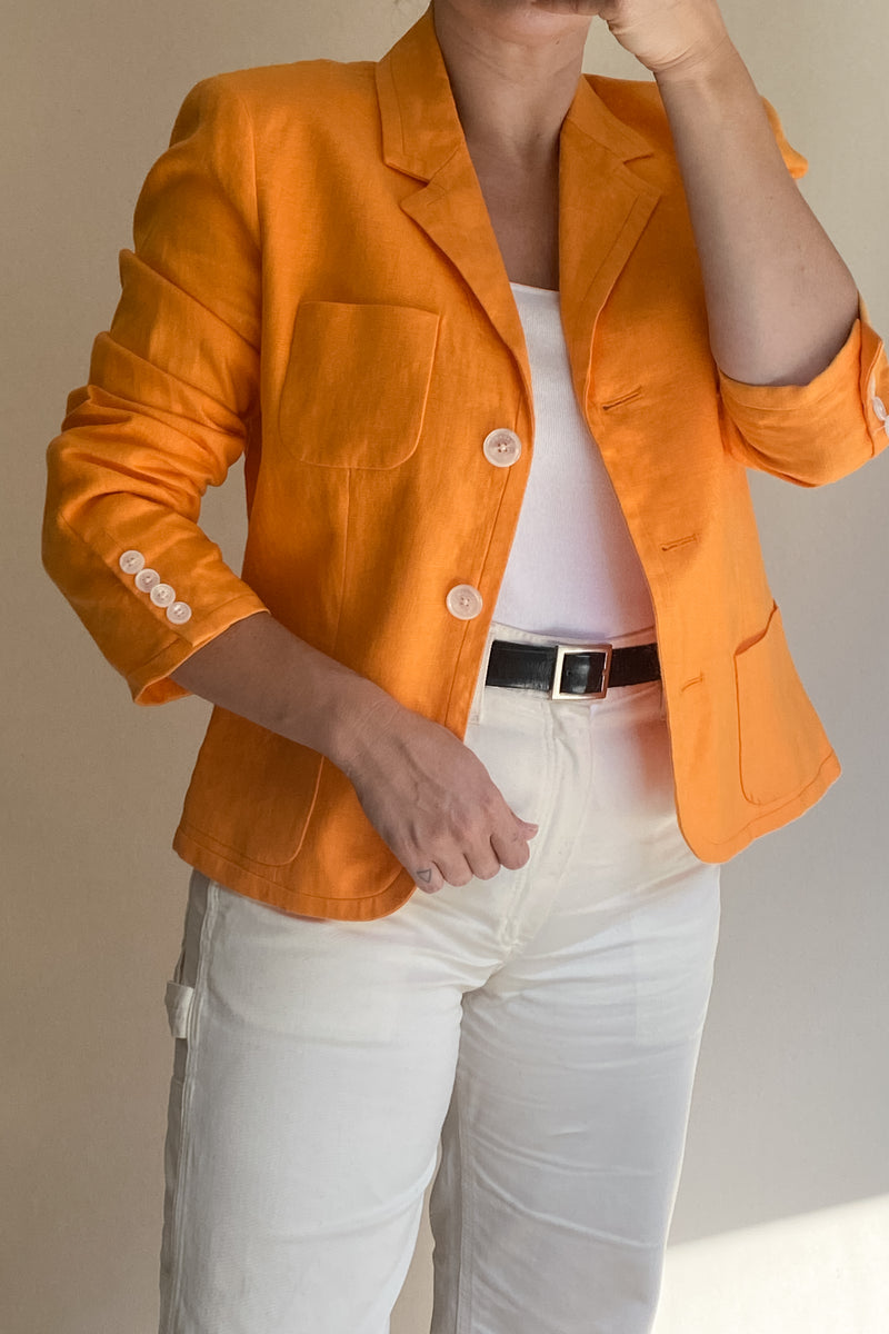 1990s Safety Orange Linen Blazer
