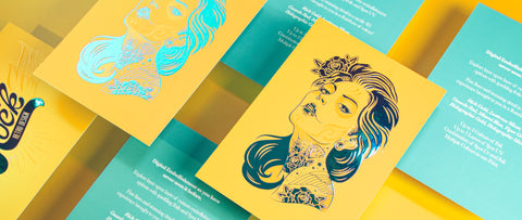 Yellow and Blue Printed Postcards with a beautiful tattoo sugar skull woman in bright aqua foil on