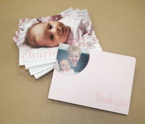 charolette thank you baby postcards in pink web