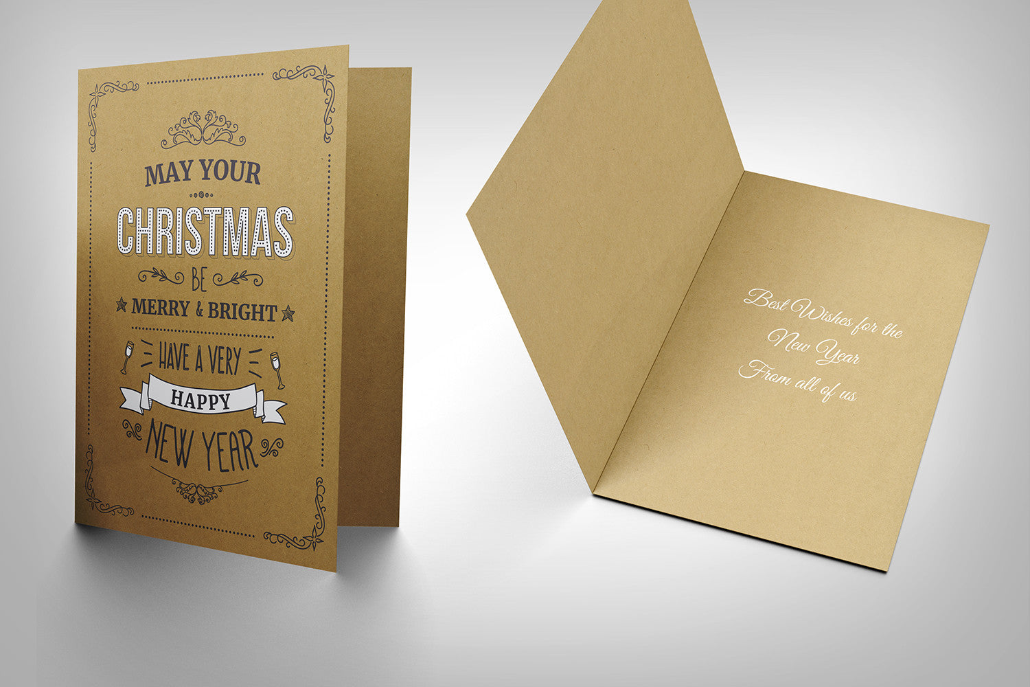 Christmas Card (buffalo kraft board with white ink) design A