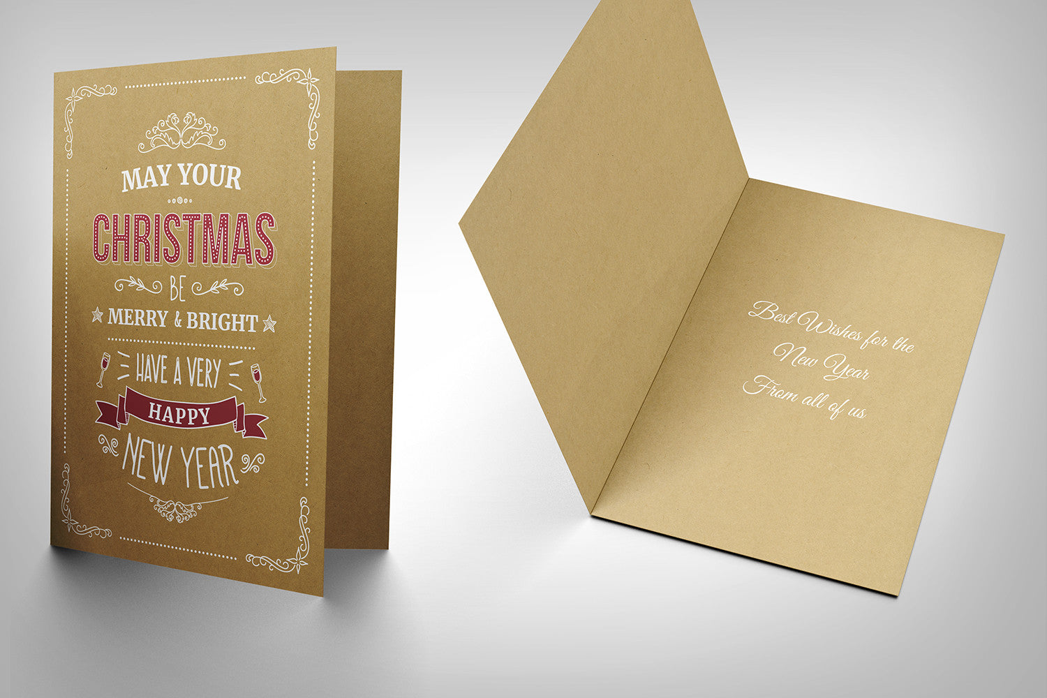 Christmas Card (buffalo kraft board with white ink)  design B