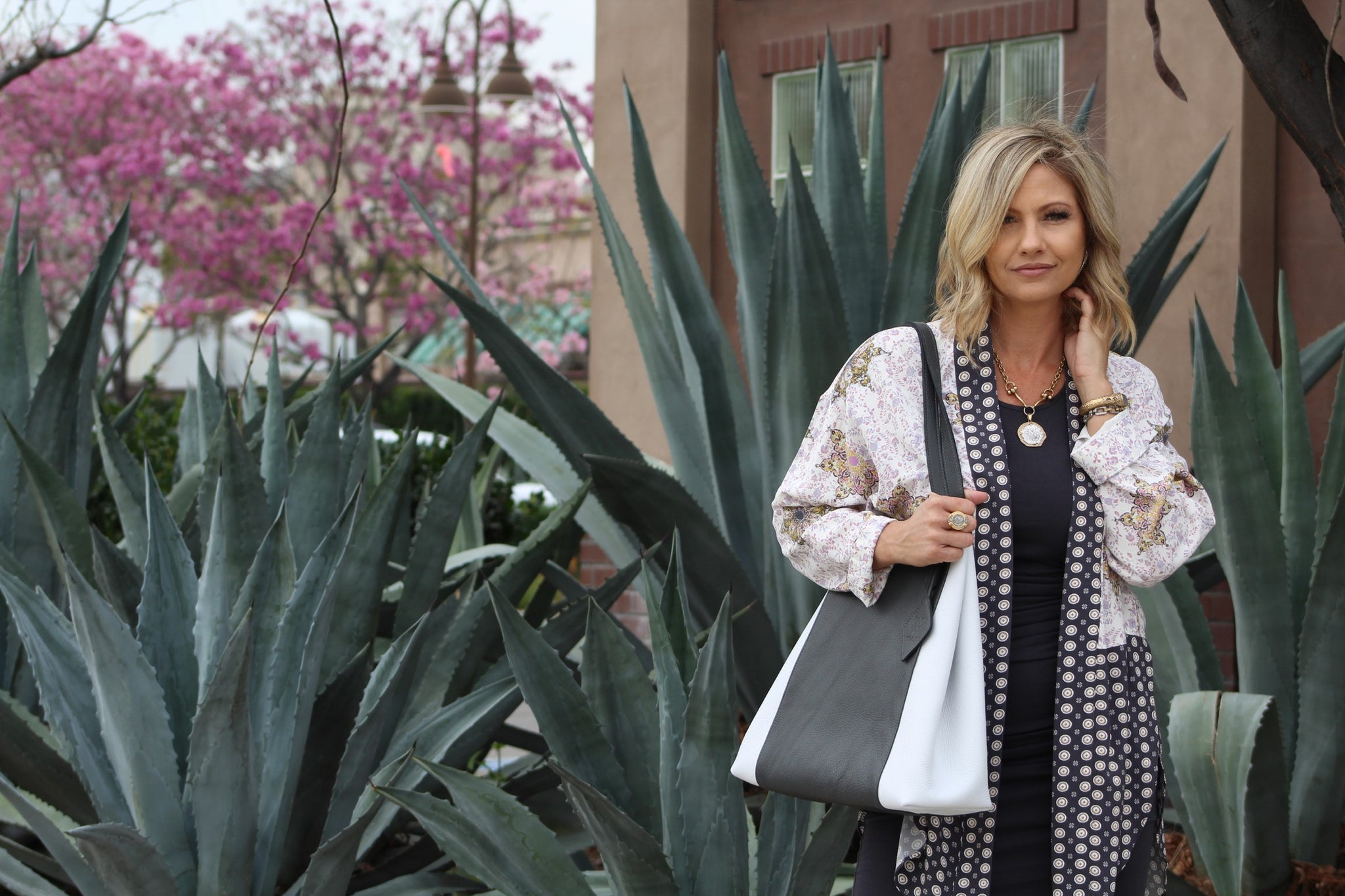 KYLA JOY Tote | Charcoal and  White | USA Made | Lifestyle