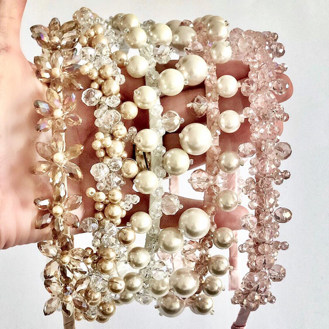 Designer Hair Accessories by Sienna Likes to Party - Girls Pearl Head bands
