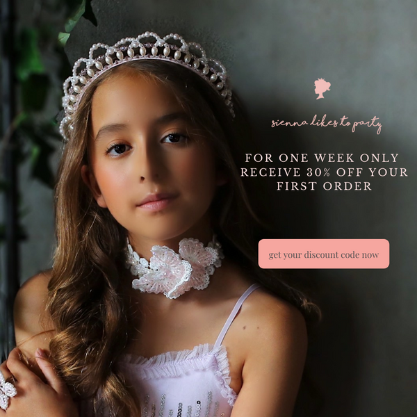 get your 30% off code for Sienna Likes to Party best childrens accessories