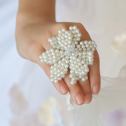 Luxury girls pearl ring perfect for Flower Girl and Bridal Party gifts by sienna Likes to Party