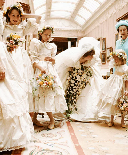 Princess Diana on her wedding day with her bridesmaids and flower girls