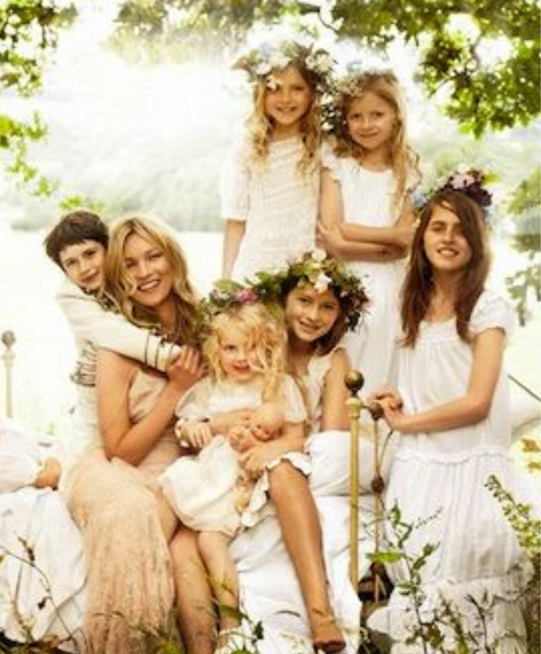kate Moss at her wedding to Jamie Hince with her flower girls and bridal party