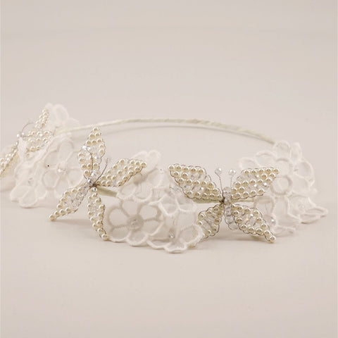 Butterfly and Flower Hair Garland for Flower Girls by Sienna Likes to Party Accessories