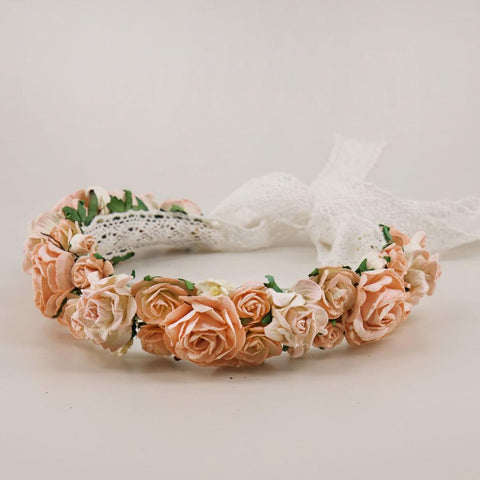 Soft Apricot Flower Garland for Flower Girls or Bridesmaids by Sienna Likes to Party Accessories