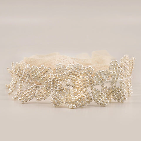 Flower Girl Hair Garland made with pearls by Sienna Likes to Party Designer Accessories