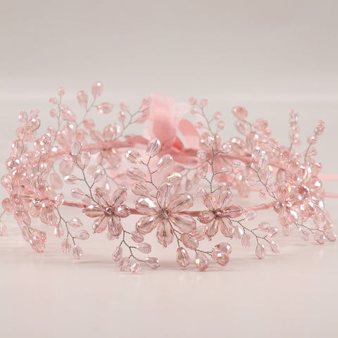 The Starr - Pink Crystal Flower Garland for the Hair by Sienna Likes to Party Accessories