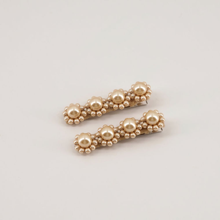 The Amor Designer Gold Pearl Hair Clip Set