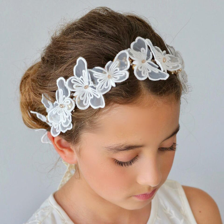 The Butterfly Effect Lace and Crystal Girls Hair Garland