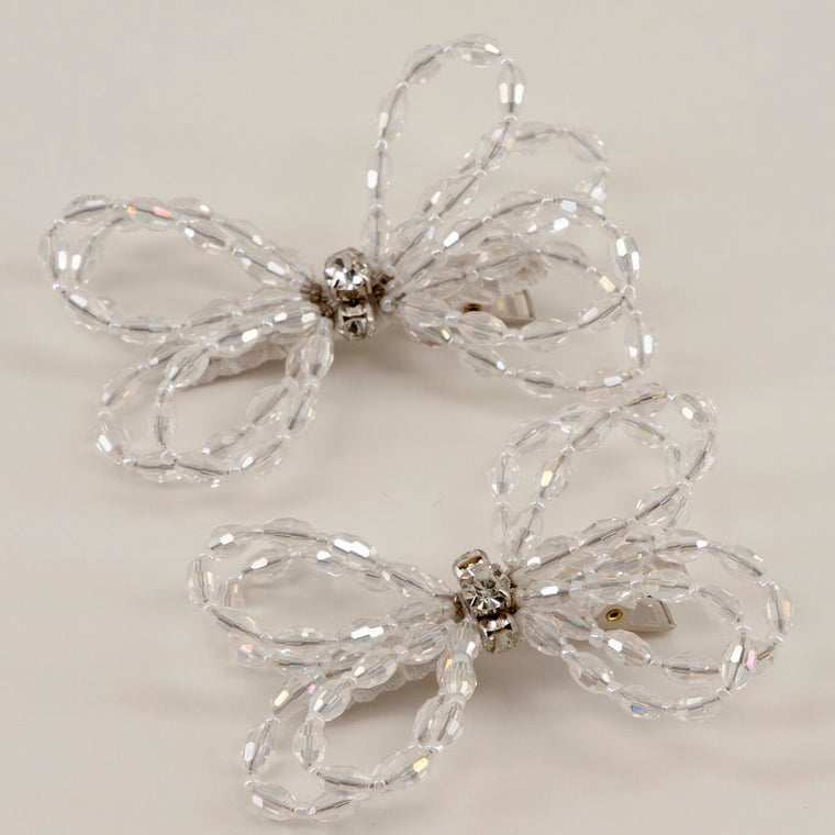 The Designer Darlene White Crystal Bow Hair Clip Set Hair Clip Sienna Likes To Party