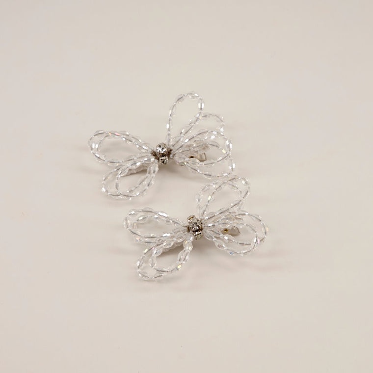 The Designer Darlene White Crystal Bow Hair Clip Set