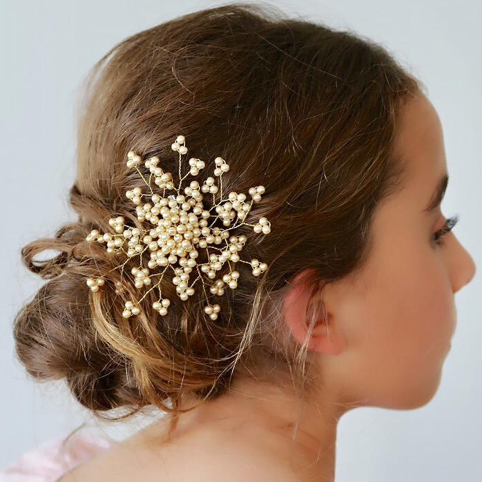 The Emmaline Pearl Flower Girls Hair Clip