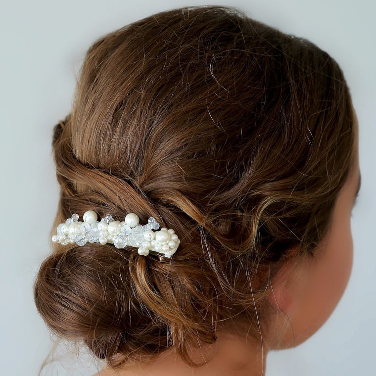 The Faith Pearl & Crystal Designer Girls Hair Clip
