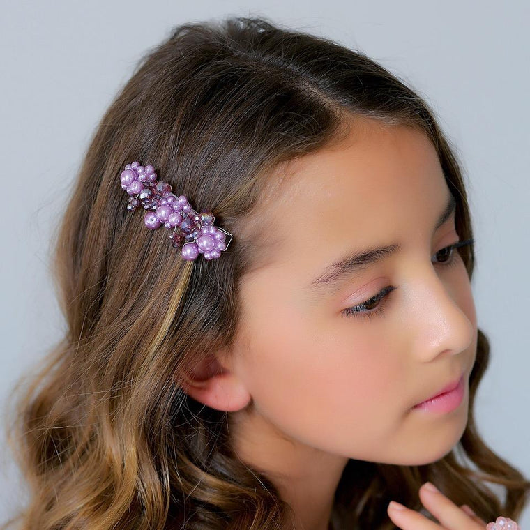 The Lilac In Name Crystal & Pearl Designer Hair Clip