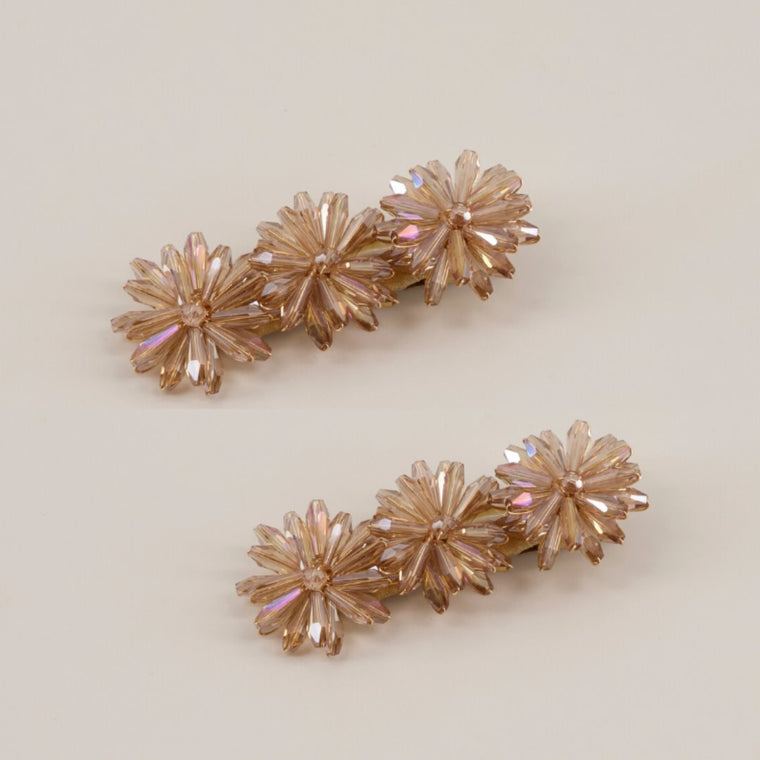The Nassandra Crystal Flowers Designer Hair Clip