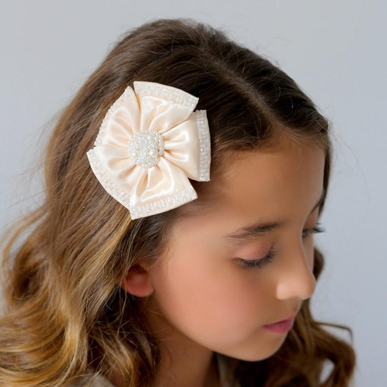 The Saffron Satin Flower Girls Hair Clip