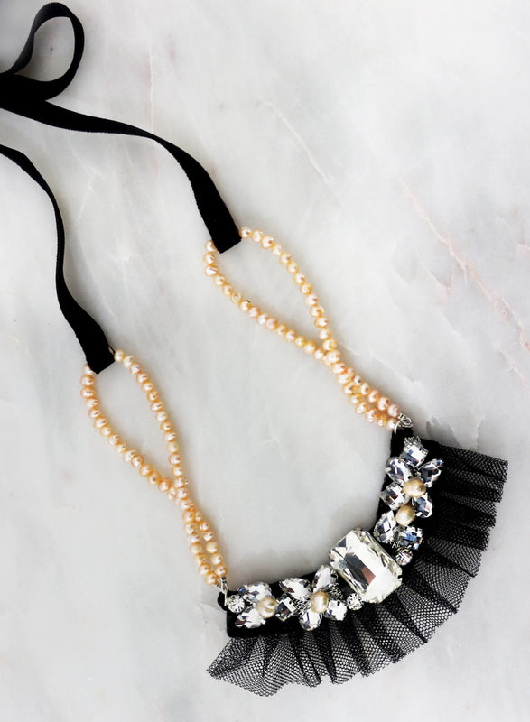 The Tatiana Couture Fresh Water Pearl & Crystal Necklace Couture Sienna Likes to Party
