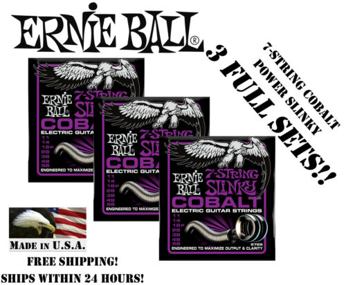 ** 3-PACK ERNIE BALL COBALT 7 STRING POWER SLINKY GUITAR STRINGS 11-58 **