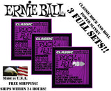**3 PACK ERNIE BALL 2250 CLASSIC ROCK N ROLL SLINKY ELECTRIC GUITAR STRINGS **