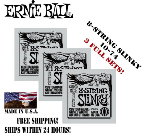 ** 3-PACK ERNIE BALL 8-STRING SLINKY 2625 ELECTRIC GUITAR STRINGS 10-74 **