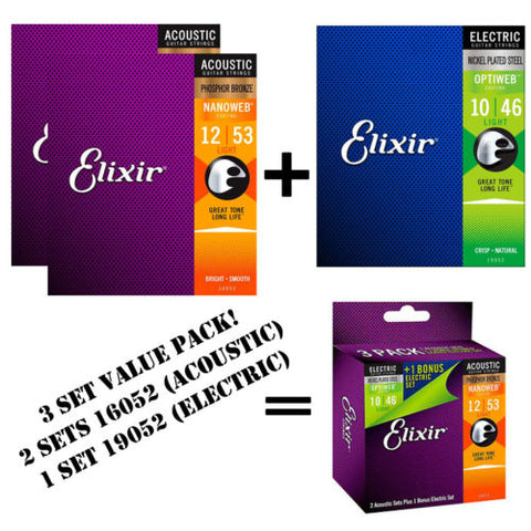*ELIXIR 16052 ACOUSTIC (2 SETS) & 19052 ELECTRIC (1 SET) GUITAR STRINGS 3-PACK*