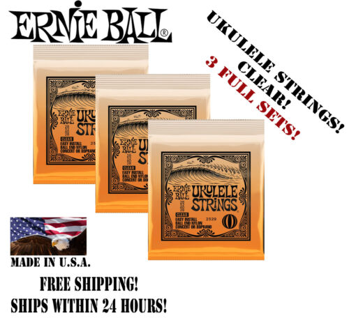 ** 3 SETS Ernie Ball 2329 Nylon Ball End Ukulele Strings Clear (28-28) **