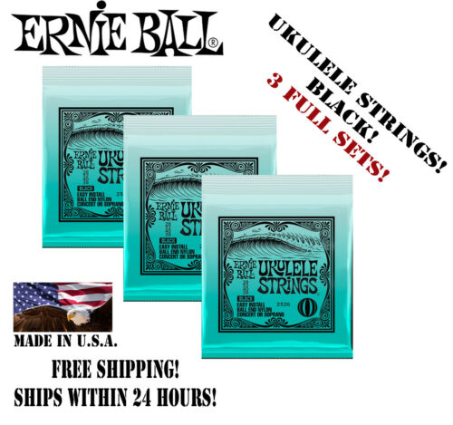 ** 3 SETS Ernie Ball 2326 Nylon Ball End Ukulele Strings Black (28-28) **