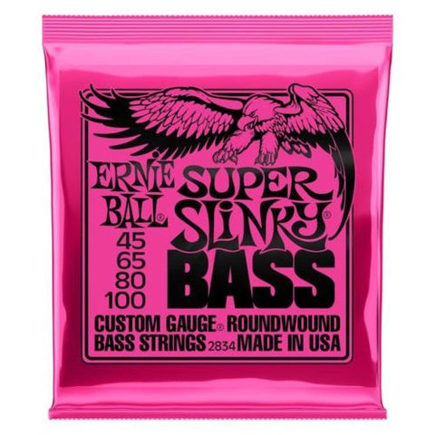**ERNIE BALL SUPER SLINKY 45-100 ELECTRIC BASS GUITAR STRINGS 2834 (4-STRING)**
