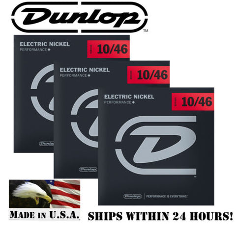 3 SETS DUNLOP NICKEL PLATED STEEL ELECTRIC GUITAR STRINGS 10-46 GAUGE (DEN1046)