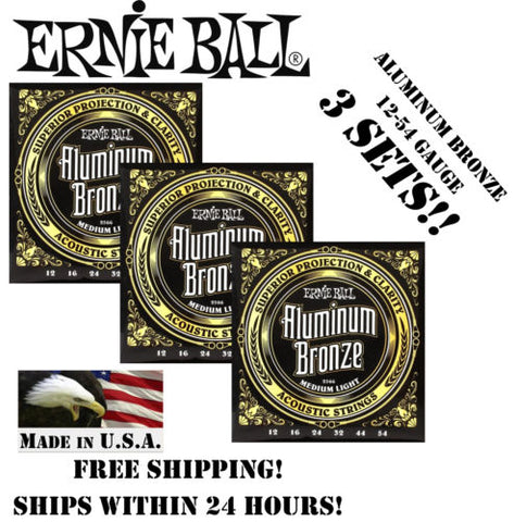 ** 3 SETS! ERNIE BALL ACOUSTIC ALUMINUM BRONZE GUITAR STRINGS 2566 (12-54) **