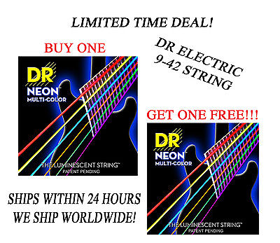 **DR HI-DEF NEON MULTI-COLOR ELECTRIC GUITAR STRINGS (9-42) -- COATED STRINGS**