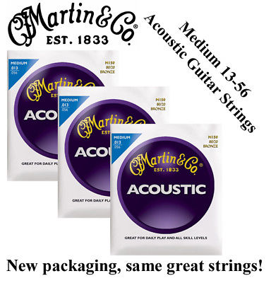 ** 3 SETS - MARTIN M150 ACOUSTIC GUITAR STRINGS MEDIUM 80/20 BRONZE **